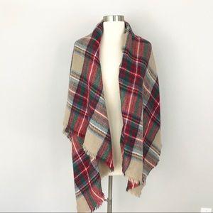 ModCloth Plaid Blanket Scarf Lightweight Tan Red